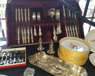 Silver plate silverware set, silverplate serving pieces