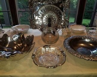 Crystal, Silver Plate, serving pieces
