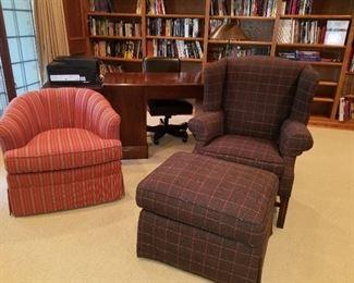 Custom  covered Arm Chair w/ottoman, club chair