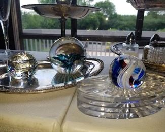 Crystal, Silver plate, Paperweights