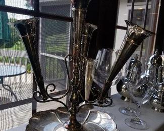 Silver plate, Bud vase, floral arrangements