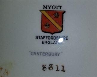 """Myott, Staffordshire England, """"Canterbury"""","""