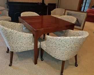 6 Matching Club Chairs,  table square game table,  or 2 leaves to full size table