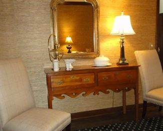 Console table, 4 matching parsons chairs, large mirror