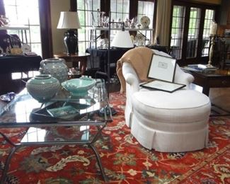 Chair w/Ottoman,  glass top coffee table w\wrought iron base, 8X10 area rug