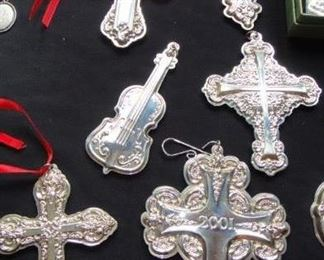 Reed  & Barton, Wallace ,  Sterling Christmas Ornaments, Cross, Bells,  Waterford  Christmas ornaments