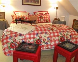 King Linens, red ottomans