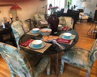 Dining room table with six custom chairs