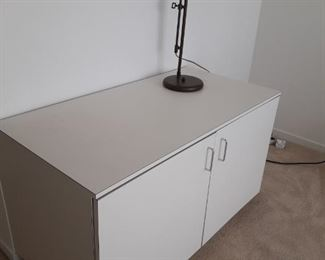 MCM white enamel storage cabinet and lamp