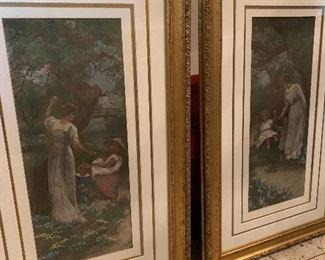 2 gold framed pictures