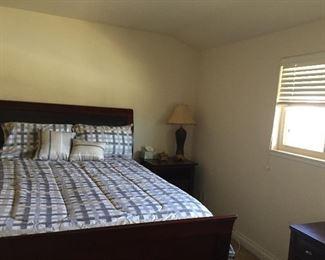 Queen wood bedroom set - Bed,mattress,desk,dresser, and nightstand