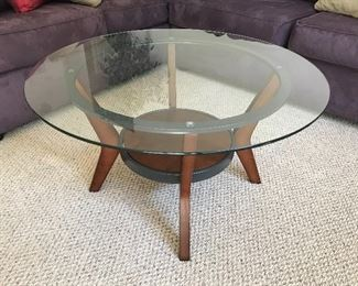 Wood and Glass Circular Coffee Table