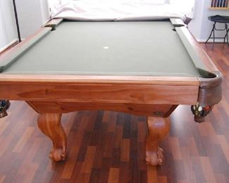 POOL TABLE WITH COVER, CUE STICKS, RACK, BALLS