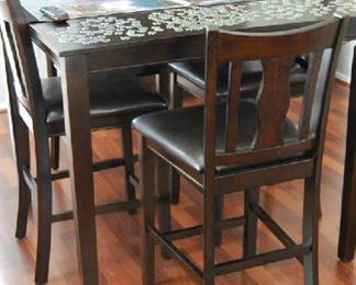 PUB STYLE SEATING WITH 4 CHAIRS (PUZZLE NOT INCLUDED)