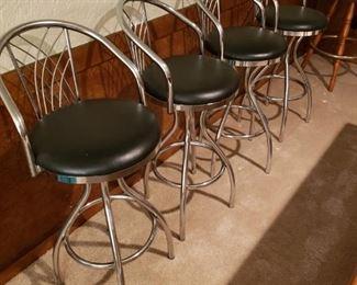 Mid Century Modern Stainless Steel Bar Stools