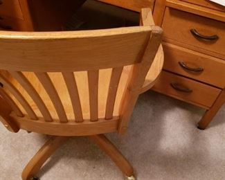 Oak Desk and Chair
