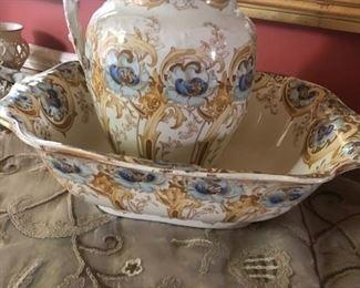 Victorian Demi Porcelain Wash Basin & Pitcher