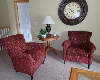 UPHOLSTERED DEEP RED & GOLD SIDE CHAIRS