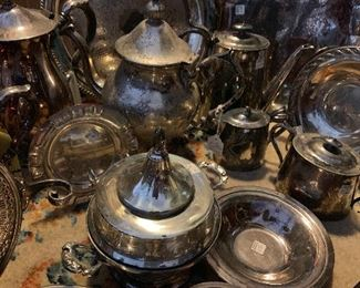 Just a few samples of Silver plate hollow ware currently in the shop, we have silverware as well for dining or for creating art or jewelry.  Stagecoach Antiques is Offering 50% or more of ALL Inventory and Shelving units in the brick and mortar shop--July 26-28, 10-5 each day--see you in the shop!