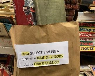 The BIG BOOK SALE---$5.00 a bag, you choose from our vast collection of books and/or magazines.  Stagecoach Antiques is Offering 50% or more of ALL Inventory and Shelving units in the brick and mortar shop--July 26-28, 10-5 each day--see you in the shop!