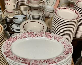 Shown here is a sampling of our restaurant china, we have red, brown, green, some yellow and maybe a stray piece here and there.  Stagecoach Antiques is Offering 50% or more of ALL Inventory and Shelving units in the brick and mortar shop--July 26-28, 10-5 each day--see you in the shop!