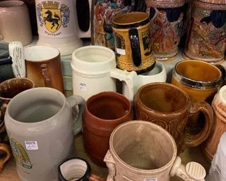 Steins and Mugs ready for any beverage!   Stagecoach Antiques is Offering 50% or more of ALL Inventory and Shelving units in the brick and mortar shop--July 26-28, 10-5 each day--see you in the shop!