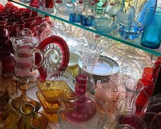 Glassware of all colors, more available in green, amber, blue, and red.  Stagecoach Antiques is Offering 50% or more of ALL Inventory and Shelving units in the brick and mortar shop--July 26-28, 10-5 each day--see you in the shop!