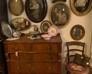 Early wood dresser with carved side. Several concave Glass framed pictures are currently available. Stagecoach Antiques is Offering 50% or more of ALL Inventory and Shelving units in the brick and mortar shop--July 26-28, 10-5 each day--see you in the shop!