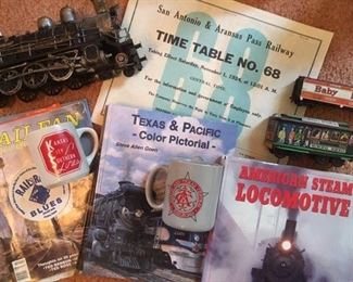 Assorted train ephemera, painted ceramic replicas, HO gauge train cars by Athearn & books