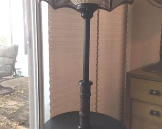 Combination round end table/lamp with woven shade in umbrella-form & white globe lamp