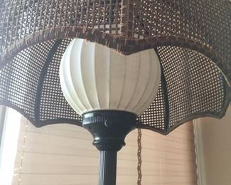 Detail of woven shade to combo end table/lamp