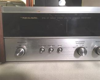 AM/FM stereo receiver with Quatravox 4-Channel synthesizer, Model STA-47 by Realistic, with manual