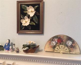 Painted hand fan; framed dimensional glazed ceramic Magnolias; Magnolia sculpture; small clay & porcelain figurines made in Japan