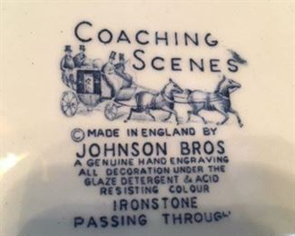 "Stamp of ""Coaching Scenes"" ironstone pieces"