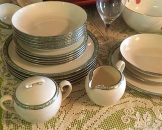 "Fine china service for 6 by Lenox in ""Adrienne"" pattern"