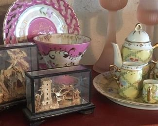 Assorted fine porcelain tea cup sets, including a miniature tea set  & pair of Asian dioramas