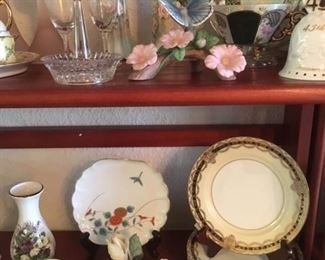 Assorted china, bisque & porcelain; lower right is a set of 6 bread and butter plates in Gacahad pattern by Noritake