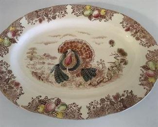 Large transferware turkey platter; no maker mark