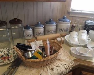 Glass & glazed pottery canisters, Corelle dishes & kitchen gadgets