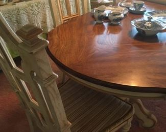 Dining table with leaf & 6 matching chairs, by Stanley Furniture Co, Stanleytown, VA