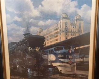 1997 Framed color litho print of The Texans, T&P Railway,  numbered and signed by artist #268/350, John Winfield