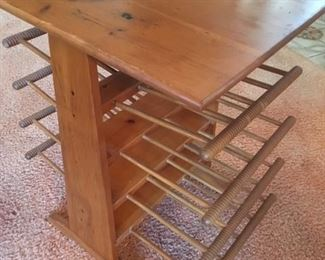 Wood magazine rack with turned dowels