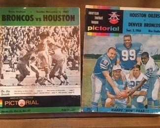 1967 Broncos vs Houston program and 1966 Houston vs. Denver program by Pictorial