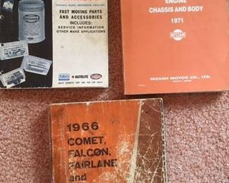 Reference Catalog for Ford, and Service manuals for Datsun, and combo manual for Comet, Falcon, Fairlane & Mustang
