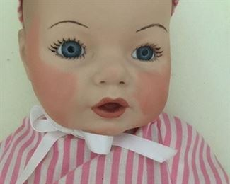 "Detail of  full bisque infant doll ""Judy"", Scioto (c) 1985"