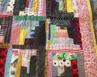 Handmade log cabin crazy quilt, twin size