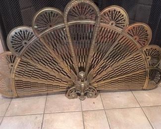 Brass fireplace fan with Phoenix  motif
