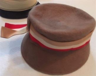 Brown felt hat with striped grosgrain ribbon