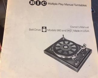 Manual for turntable by BIC
