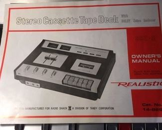 Owner's manual for Realistic cassette tape deck